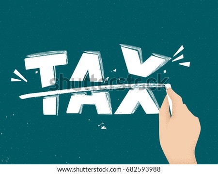 Hand drawing straight line over tax text on blackboard Stock photo ©