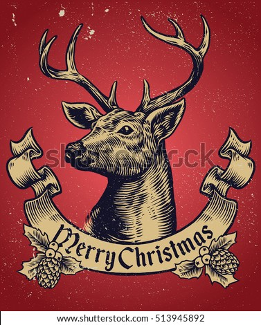 Stock Photo Hand Drawing style of christmas deer with text banner