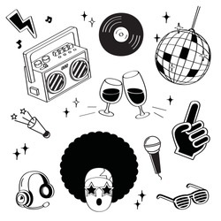 Hand drawing styles disco items. Disco doodle