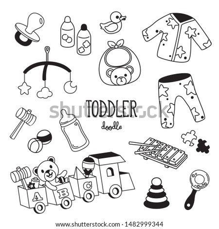 Hand drawing styles toddler items. Toddler doodle.