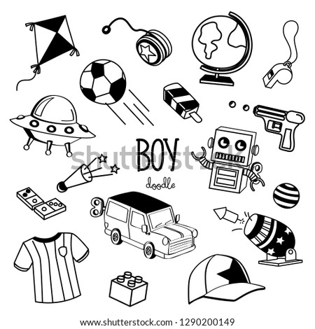 Hand drawing styles with boy items. Boy items doodle.
