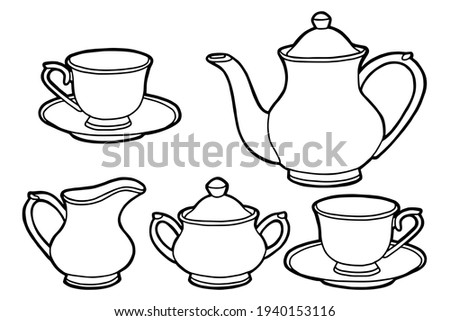 Hand drawing tea set. Teapot, milk jug, sugar bowl and cups and saucers. Black outline. Coloring page.  Stock photo ©