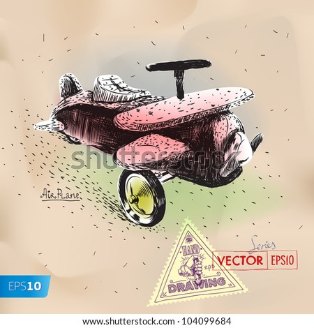 Hand drawing toy vintage airplane vector eps10 image