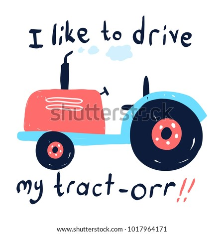 Hand drawing tractor illustration vector.