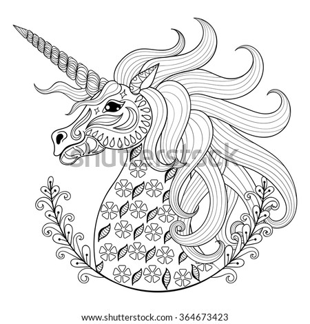 hand drawing unicorn for adult