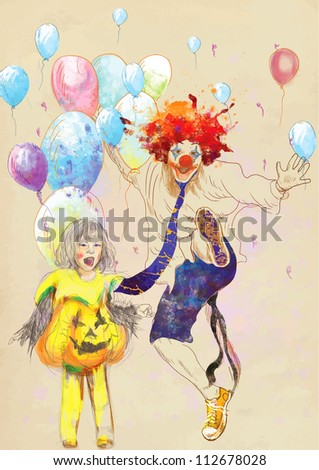 hand drawing using digital tablet (this is drawing converted into vector) - happy girl and lucky clown