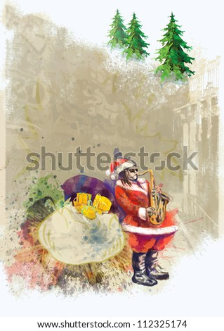 hand drawing using digital tablet (this is drawing converted into vector, resolution at 300 dpi, A4 international size) - - colored sketch Santa Claus playing the saxophone (unconventional character)