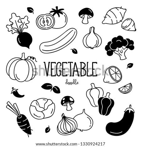 Hand drawing vegetables. Doodle vegetables. #1330924217