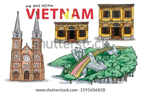 hand drawing vietnam landmarks