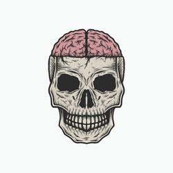 Hand drawing vintage skull brain vector illustration