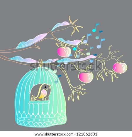 hand drawing winter background with cage and bird, vector illustration