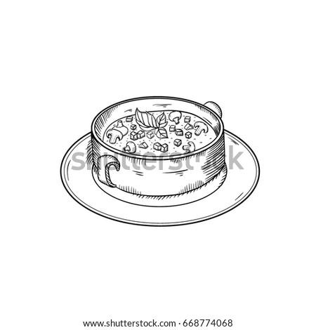 hand drawm mushroom soup. Sketch Style