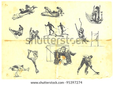 Hand drawn a large collection of winter sports - skiing, ice hockey, figure skating, etc. Detailed and precise work.