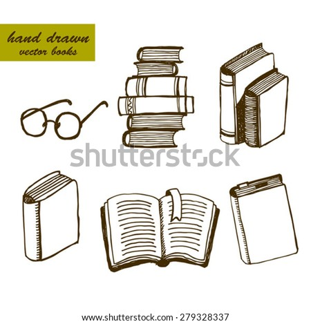hand drawn a pile of books and glasses, reading and education