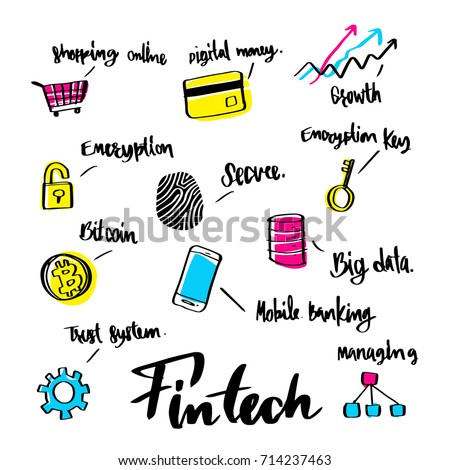 Hand drawn about Fintech icon concept and lettering calligraphy design.