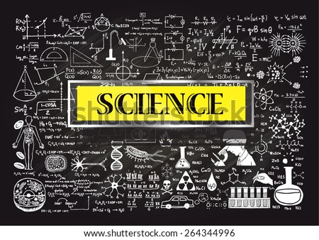 Hand drawn about Mathematics on chalkboard with the world SCIENCE in transparent frame with yellow background.