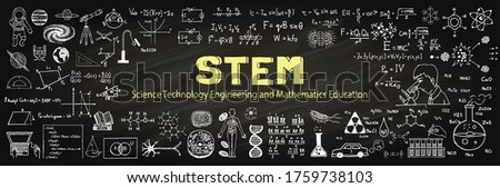 Hand drawn about STEM on chalkboard. Vector illustration Foto d'archivio ©