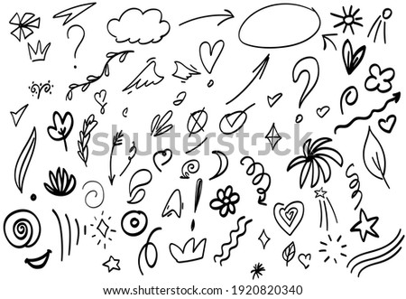 hand drawn Abstract arrows, ribbons and other handdrawn style elements for concept design. Doodle illustration, Vector template for decoration Stockfoto ©