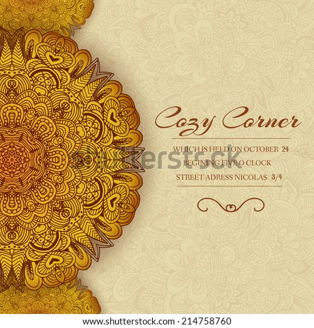 Hand drawn abstract background ornament illustration concept Vector decorative retro banner of card or invitation design Vintage traditional Islam arabic indian ottoman motifs elements