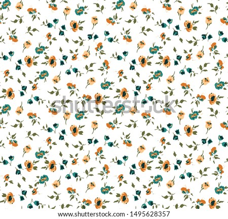 Hand Drawn Abstract Ditsy Flowers and Leaves Vector Pattern Isolated Background