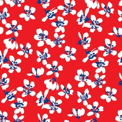 Hand drawn abstract ditsy flowers seamless pattern on red. Repeating floral vector pattern. Ditsy print in calico shabby chic.