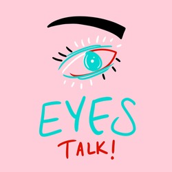 Hand Drawn Abstract Eyes Talk Concept Writing with Eye Doodle Vector Pattern Isolated Background