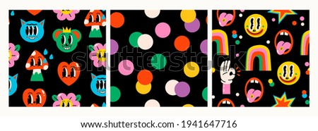 Hand drawn Abstract faces, hearts, mushroom, flower, funny cute Comic characters. Hand drawn Vector illustartions. Cartoon style. Flat design. Set of Square Seamless Patterns. Backgrounds, wallpapers