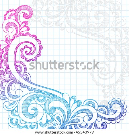 Hand Drawn Abstract Flower Paisley Sketchy Notebook