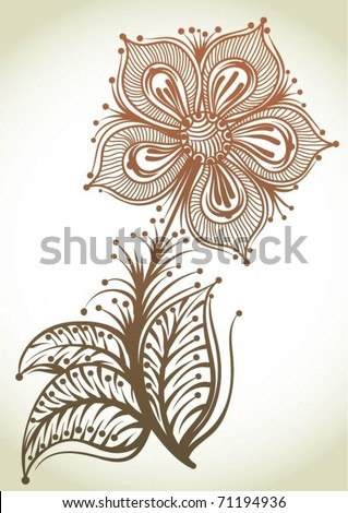Hand-Drawn Abstract Flowers