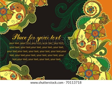 Hand-Drawn Abstract Flowers and Paisley background