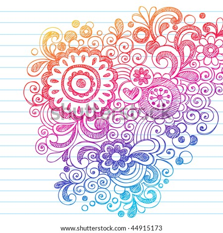 Hand-Drawn Abstract Flowers Sketchy Notebook Doodles Design Element on Lined Paper Background- Vector Illustration - stock vector