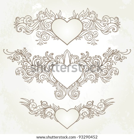 Hand-Drawn Abstract Hearts, Swirls Sketchy Notebook Doodles Vector Illustration Design Elements
