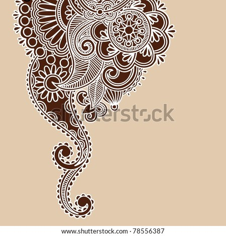 stock vector HandDrawn Abstract Henna Doodle Vector Illustration Design