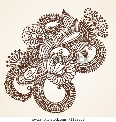 Henna Mehndi Flowers Doodle Vector Illustration Design Element