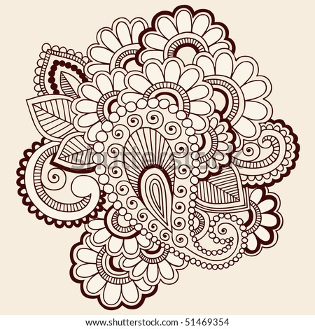 stock vector HandDrawn Abstract Henna Mehndi Paisley and Flowers Doodle