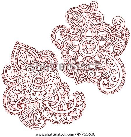 stock vector : Hand-Drawn Abstract Henna (mehndi) Paisley Doodle Vector Illustration Design Elements