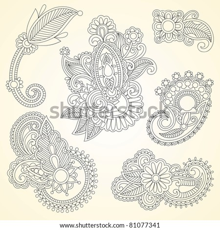 Hand drawn abstract henna mendie black flowers doodle Illustration design element