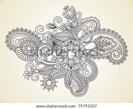 stock vector HandDrawn Abstract Henna Mendie Flowers Doodle Illustration