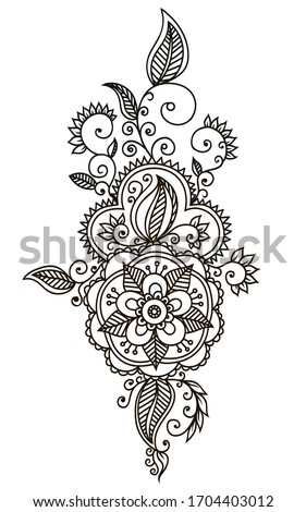 Hand-Drawn Abstract Henna Mendie Flowers Doodle Vector Illustration Design Element Stock photo ©