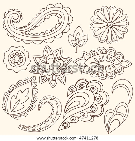 stock vector : Hand-Drawn Abstract Henna Paisley Vector Illustration Doodle Design Elements