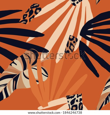 Hand drawn abstract jungle pattern with leopard print. Creative collage contemporary seamless pattern. Fashionable template for design.