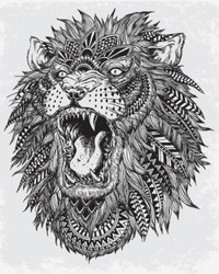 Hand Drawn Abstract Lion Vector Illustration