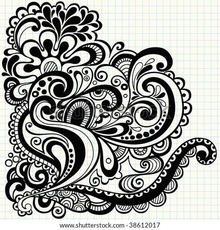 Hand-Drawn Abstract Notebook Doodle On Graph (Grid) Paper ...