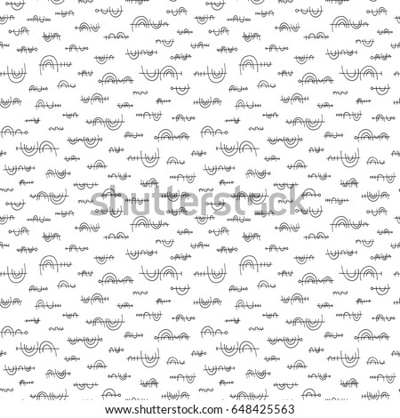 Hand drawn abstract pattern in memphis style. Vector seamless background for wallpaper, wrapping, textile design, surface texture, fabric.