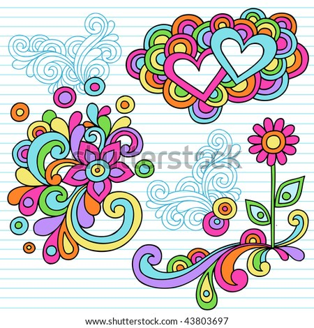 Hand-Drawn Abstract Psychedelic Notebook Doodles with Hearts and Flower on Lined Paper Background- Vector Illustration