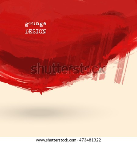 Hand drawn abstract red grunge shape. Decoration usable as banner, cards, posters, label design. Blood stains. Wallpaper with empty space for your text. Brush design element. Vector illustration.