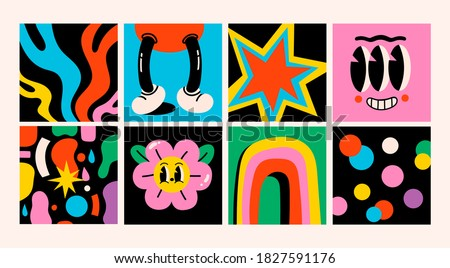 Hand drawn Abstract shapes, funny cute Comic characters. Set of eight Different colored Vector illustartions. Cartoon style. Flat design. All elements are isolated. Square Patterns, Posters, Template