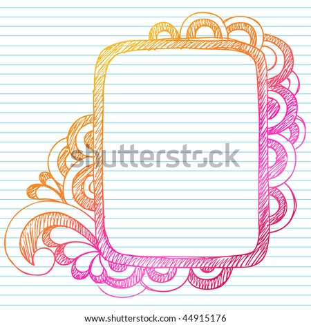 Hand-Drawn Abstract Sketchy Notebook Doodles Rectangle Frame Design Element on Lined Notebook Paper Background- Vector Illustration - stock vector