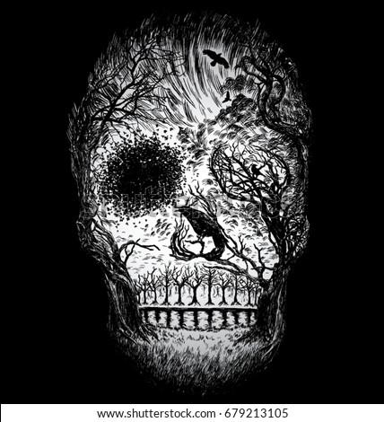 hand drawn abstract skull made