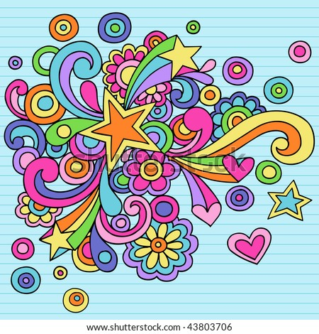 Hand-Drawn Abstract Star Psychedelic Notebook Doodles on Lined Paper Background- Vector Illustration